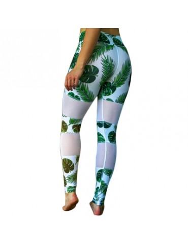 Women\'s green leaf mesh stitching digital printing buttock stretch high waist leggings