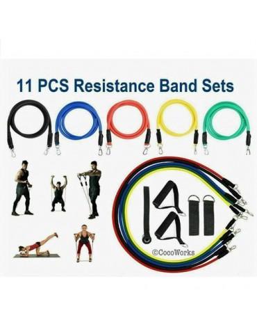 11 PCS Set Yoga Pilates Resistance Bands Abs Exercise Fitness Tube Workout Band