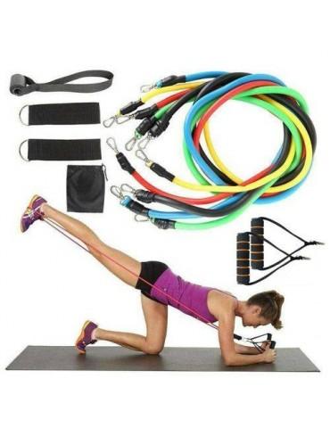 11Pcs Heavy Duty Resistance Band Tube Power Fitness Yoga Gym Exercise